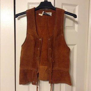 VINTAGE Suede/Leather Vest!