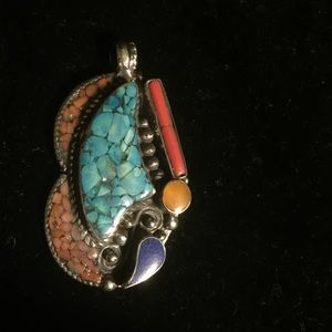 Lapis, resin, turquoise and coral pendant