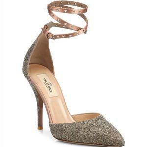 Valentino Shoes - Valentino Glitter Wrap Point Toe Shoe