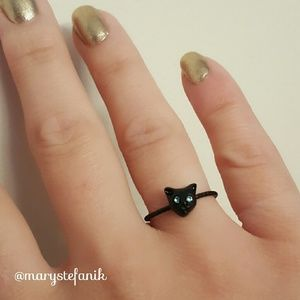 🐱 NWT Black Cat Face Ring