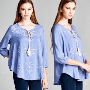 ❣NEW IN❣ Periwinkle Embroidered Blue Fall Top
