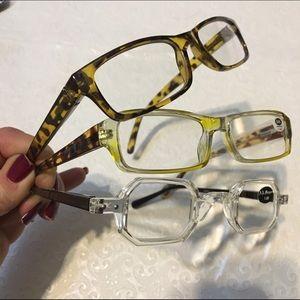 aj morgan Accessories - +1.00 Unisex 3New Pr Reading Glasses Clear Yellow
