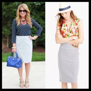 j. crew // seersucker no. 2 pencil skirt