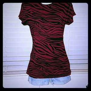 *Red Zebra Striped Tee!!*