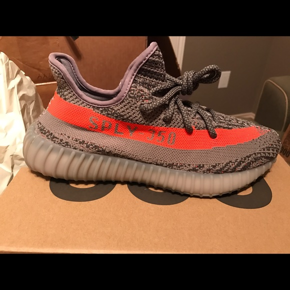 Mens Adidas Yeezy Boost 350 v2 Beluga Gray Red sz 7 BB 1826