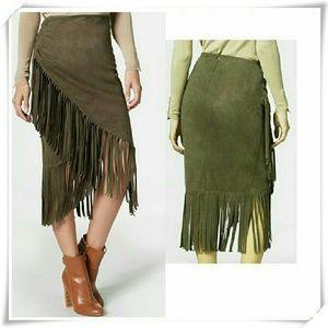 JustFab Dresses & Skirts - 👚🌷  Faux suede fringe skirt 💓