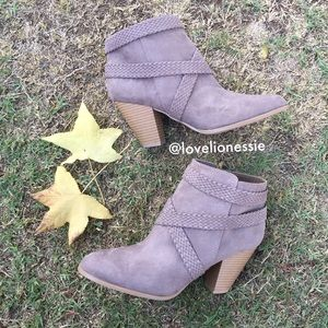 Vegan Soft Suede Heeled Booties w Strap Design