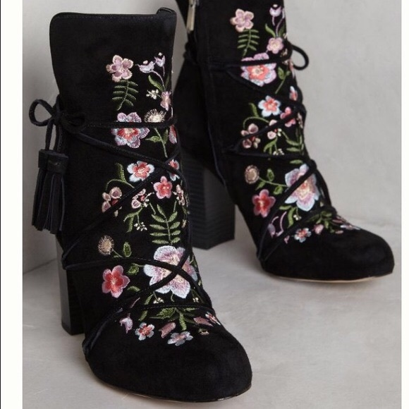 4f209b88b20b31 Anthropologie Winnie embroidered suede boots NEW. NWT. Sam Edelman
