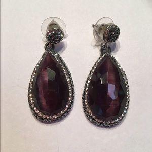 Jewelry - Gorgeous purple tiger eye earrings
