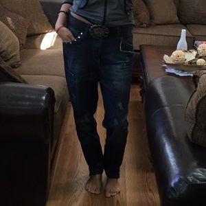 Boyfriend Studded Jeans With Belt