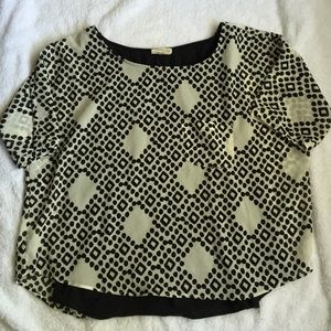 Anthro black & cream blouse top size Small petite