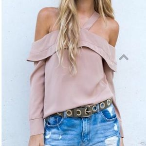 NWT Beige Off the Shoulder Top