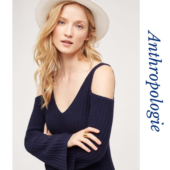 0383b4f43 Anthropologie Sweaters | Navy Blue Cold Shoulder Sweater | Poshmark