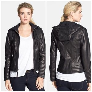 Michael Kors Hooded Genuine Leather Jacket