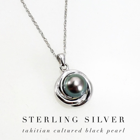 40d052aa2b1 New Sterling Silver Tahitian Black Pearl Necklace