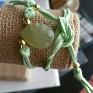 Jewelry - Natural fluorite 18k gold plated suede bracelet