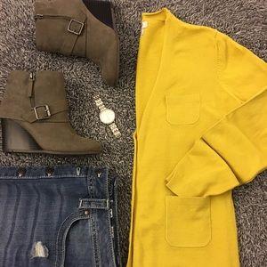 Van Heusen Sweaters - Golden-rod yellow cardigan with four pocket detail