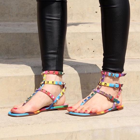 2ebf2da763c6 Valentino Rockstud 1973 rainbow gladiator sandals.  M 57eab8243c6f9f97a70006c2
