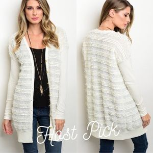 Sweaters - HP 12/27 🚨LAST 1 🚨Ivory Cardigan Druzy Buttons
