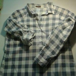 Avon  Tops - Mark Avon blue & white buffalo print tunic Xl