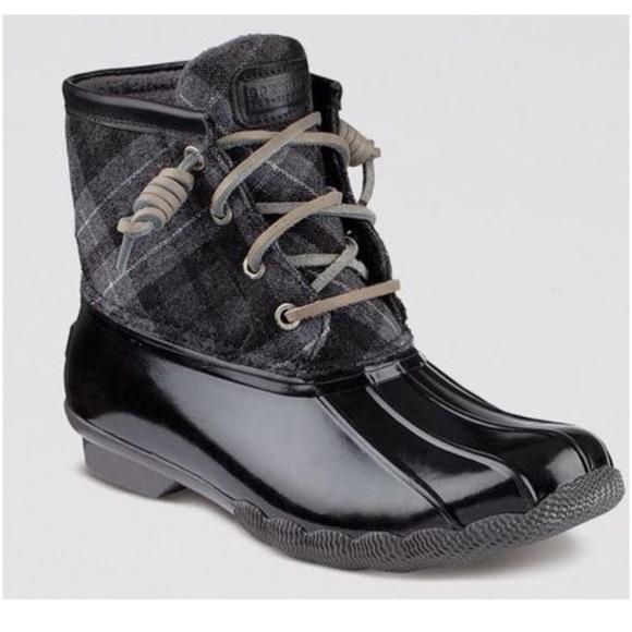 Sperry Size 5 Blackgrey Plaid Duck Boot