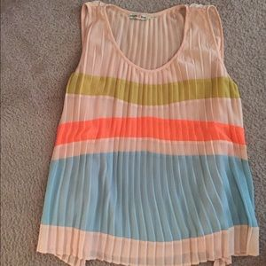 Tri colored baby pink tank top