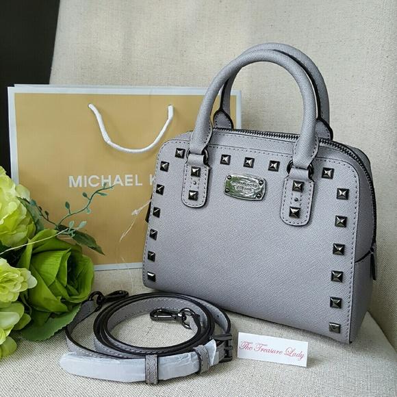 44f9d56e943b Michael Kors Saffiano Stud Mini Satchel Purse Bag