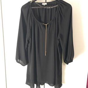 Avenue Tops - Black chiffon blouse with attached bling