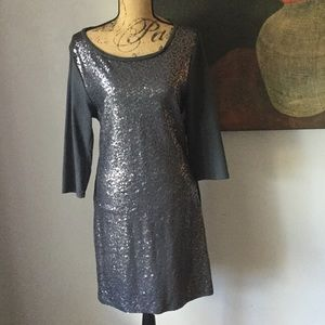 Heather gray sequined front dress.