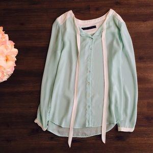 Zara Tops - Zara seafoam green and white blouse