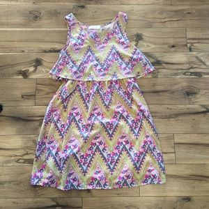 Dresses & Skirts - Floral and chevron dress