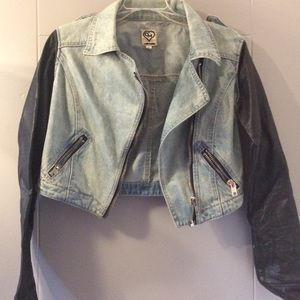 CARMAR Jackets & Blazers - Jean moto jacket, faux leather sleeves, LF Stores