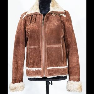 Wilson leather suede jacket with faux fur medium