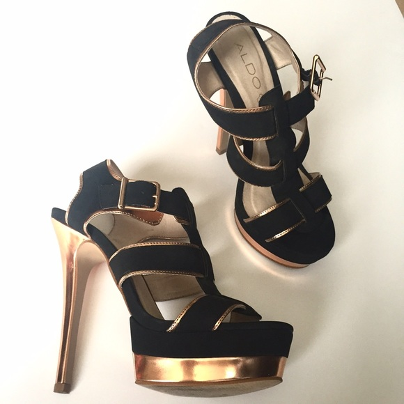 df823087cb5 Aldo Shoes - ALDO black and rose gold strappy platform heels