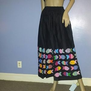 vintage Dresses & Skirts - Vintage Black  Maxi Skirt Beautiful Patchwork Fish