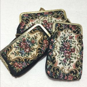 Beautiful Vintage Antique Floral Tapestry 3 pieces