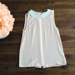 Zara Tops - White Zara sleeveless blouse with Peter Pan collar