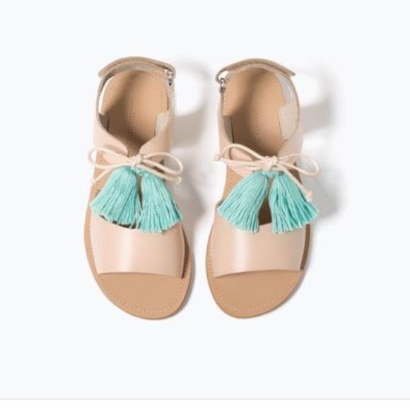 9364a687467 Zara Shoes | Kids Leather Pom Pom Sandals 35 Kid Size 3 | Poshmark
