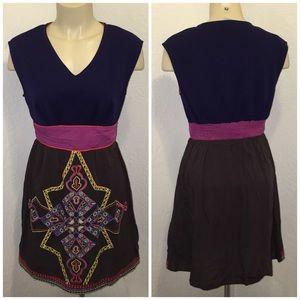 Purple Embroidered Aztec Floral Print Dress