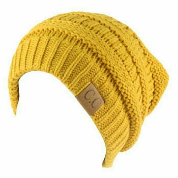 e4219a8bc5b NWT CC Ribbed beanie slouch knit hat Mustard