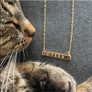 WILA Jewelry - HOST PICK 😻 MEOW Cat Hand Stamped Bar Neckla