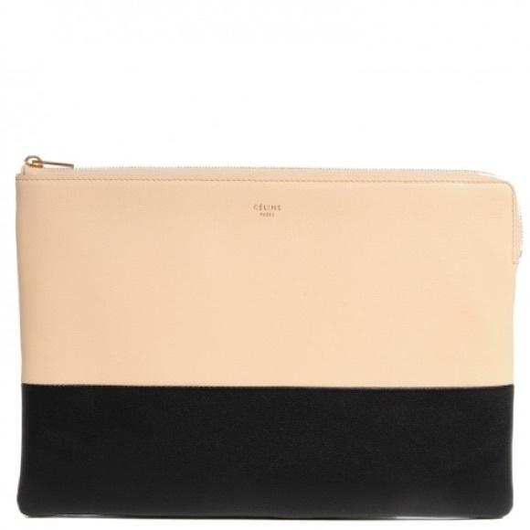Celine Handbags - Celine Beige and Black Bi-color Sole Pouch