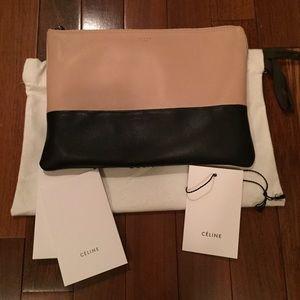 Celine Bags - Celine Beige and Black Bi-color Sole Pouch