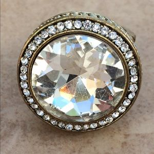 Gold Tone Statement Round Crystal Adjustable Ring
