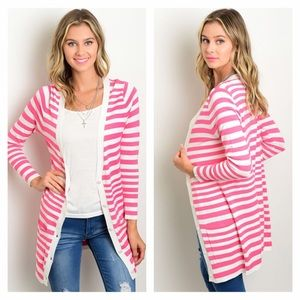 Sweaters - NWT Small Pink & White striped cardigan