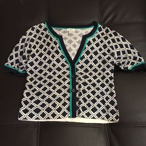 Loft XL navy white and teal cardigan