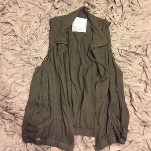Jackets & Blazers - Army green zip up vest