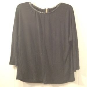 black Zara top, back zipper, leather neckline