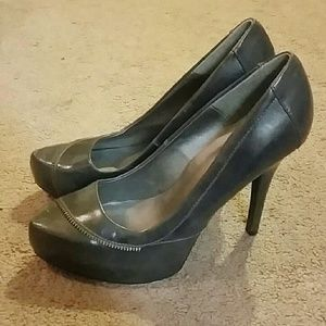 Qupid Shoes - Gray Qupid Zipper High Heel Pumps