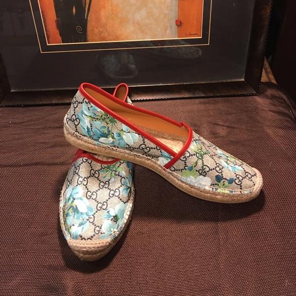 402b4bd290f Gucci Shoes - Gucci Pilar GG Blooms Espadrille Blue Womens